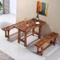 实木桌椅 酒店餐厅简约现代成套餐桌椅 直销快餐仿古碳化实木桌椅