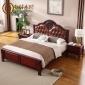 美式全实木橡胶木带皮软靠1.5/1.8米双人床带床板主卧室家具批发