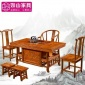 实木办公家具中式南榆木茶台1.5米马到成功茶桌椅组合泡功夫茶桌