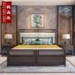 新中式床 双人床实木禅意主卧室简约现代小户型1.8米床别墅定制
