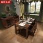 蜀将木业 全实木水曲柳白蜡木美式乡村田园实木餐椅餐桌组合