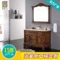 高温陶瓷盆含配套面盆 橡胶木实木对开门 加工定制浴室柜